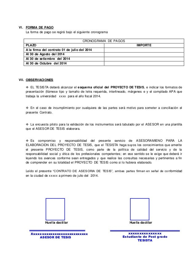 Contrato de asesoria de tesis