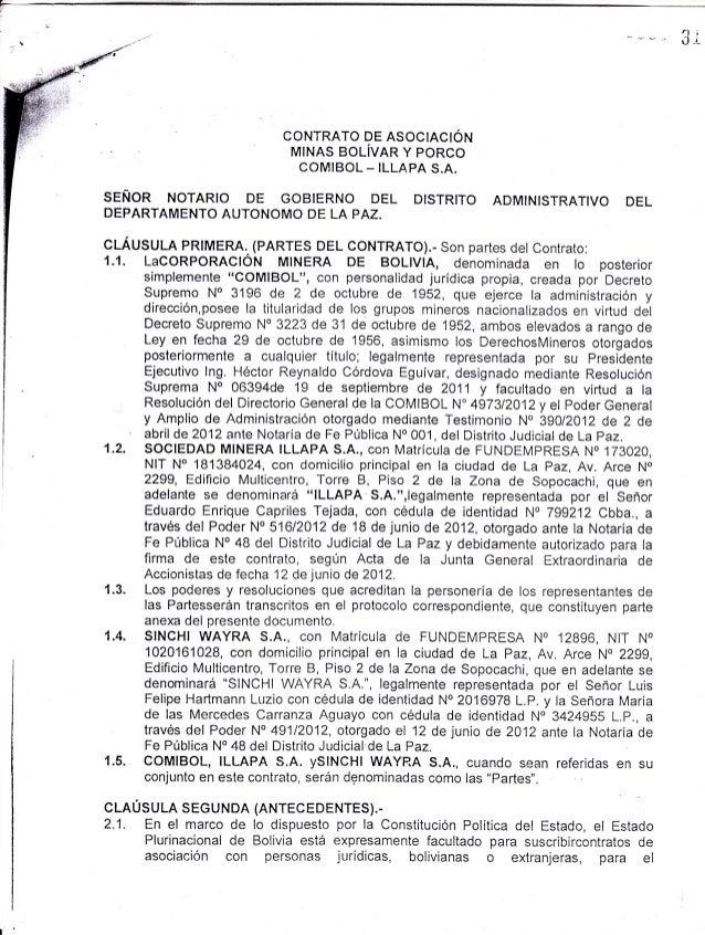 Contrato de asociación minas bolivar y porco comibol illapa sa