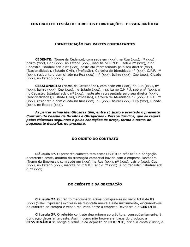 Contrato de cess o de direitos e obriga es for Contrato documento