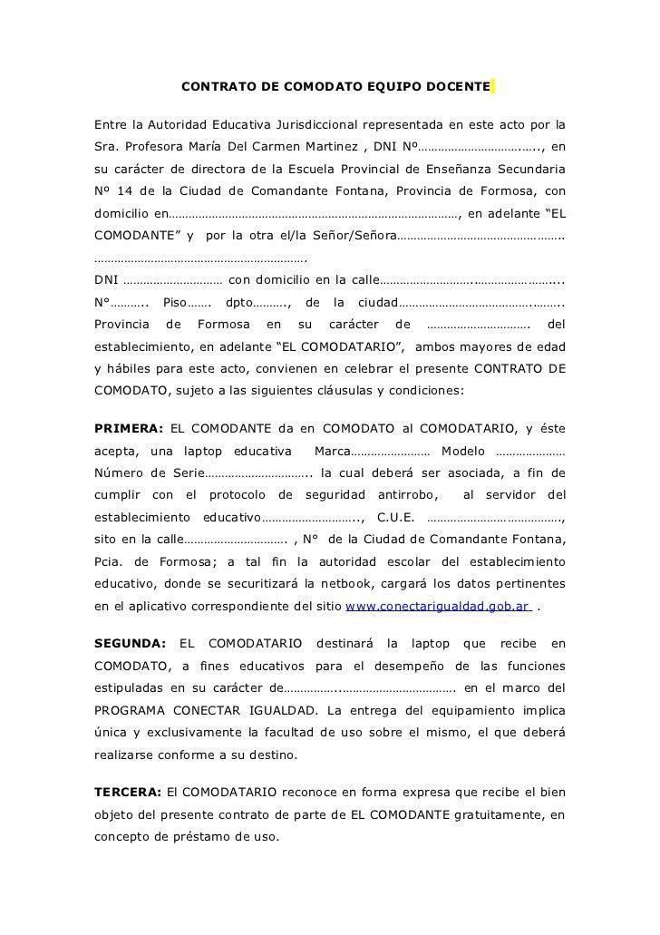 Contrato de comodato equipo docente
