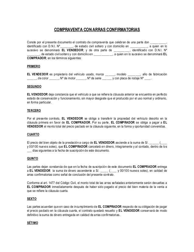 Contrato de compra venta con arras confirmatorias for Busco piso compra
