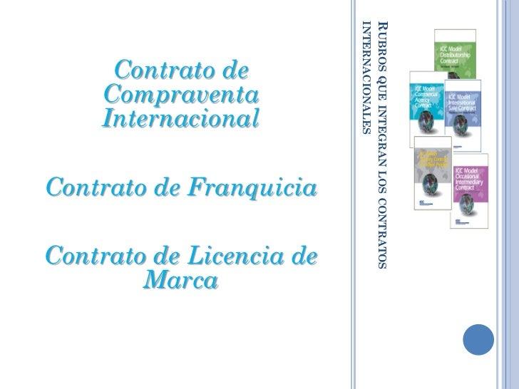 INTERNACIONALES                          RUBROS QUE INTEGRAN LOS CONTRATOS     Contrato de    Compraventa    Internacional...