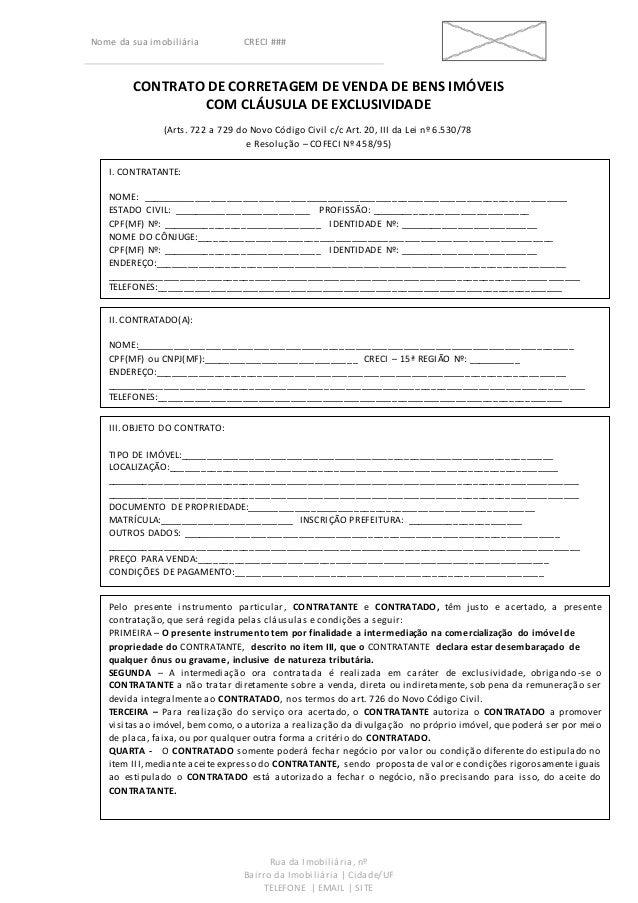 Contrato De Corretagem De Venda De Bens Imóveis Com Clausula
