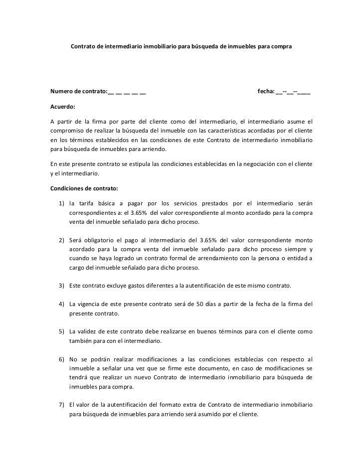 Contrato de intermediario inmobiliario para b squeda de for Contrato documento