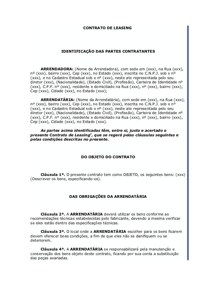 CONTRATO DE LEASING                                         ..                 IDENTIFICAÇÃO DAS PARTES CONTRATANTES      ...