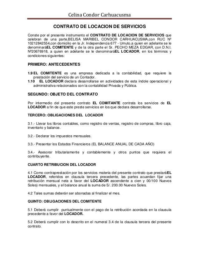 Contrato de locacion de servicios empresa privada
