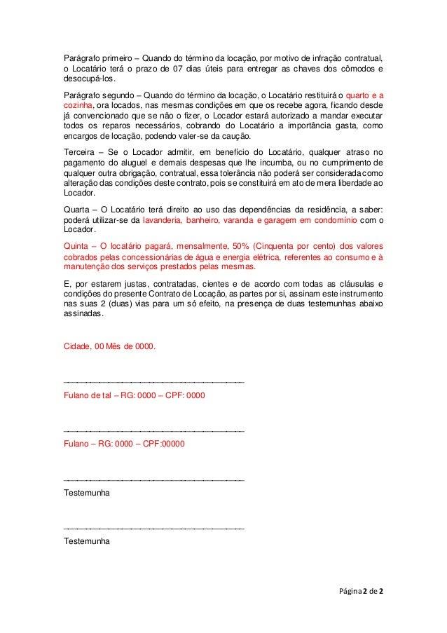Contrato De Aluguel De Quarto