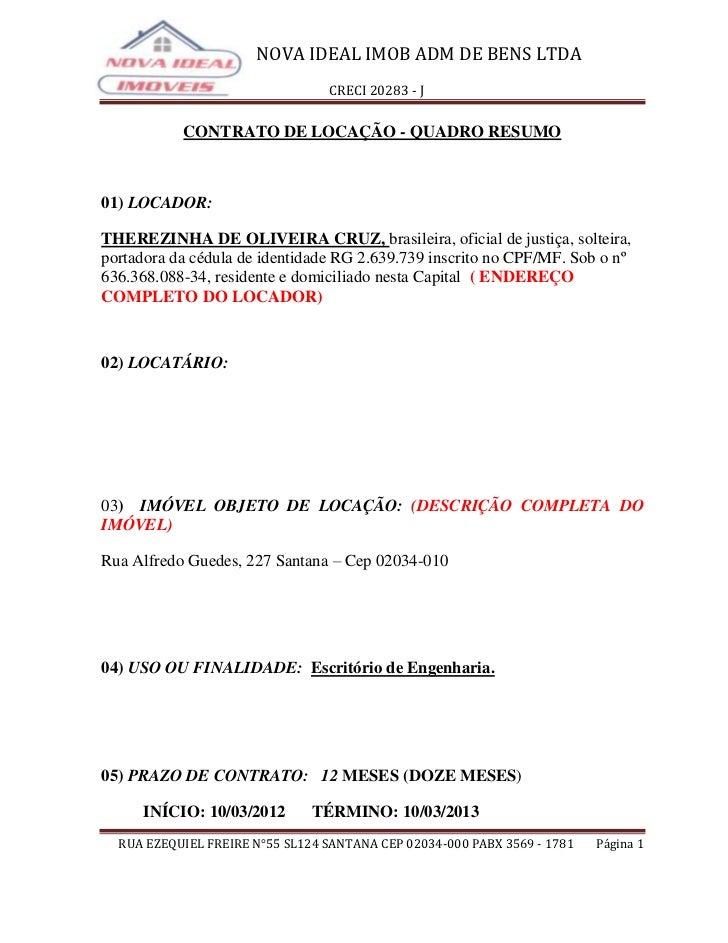 NOVA IDEAL IMOB ADM DE BENS LTDA                                 CRECI 20283 - J           CONTRATO DE LOCAÇÃO - QUADRO RE...