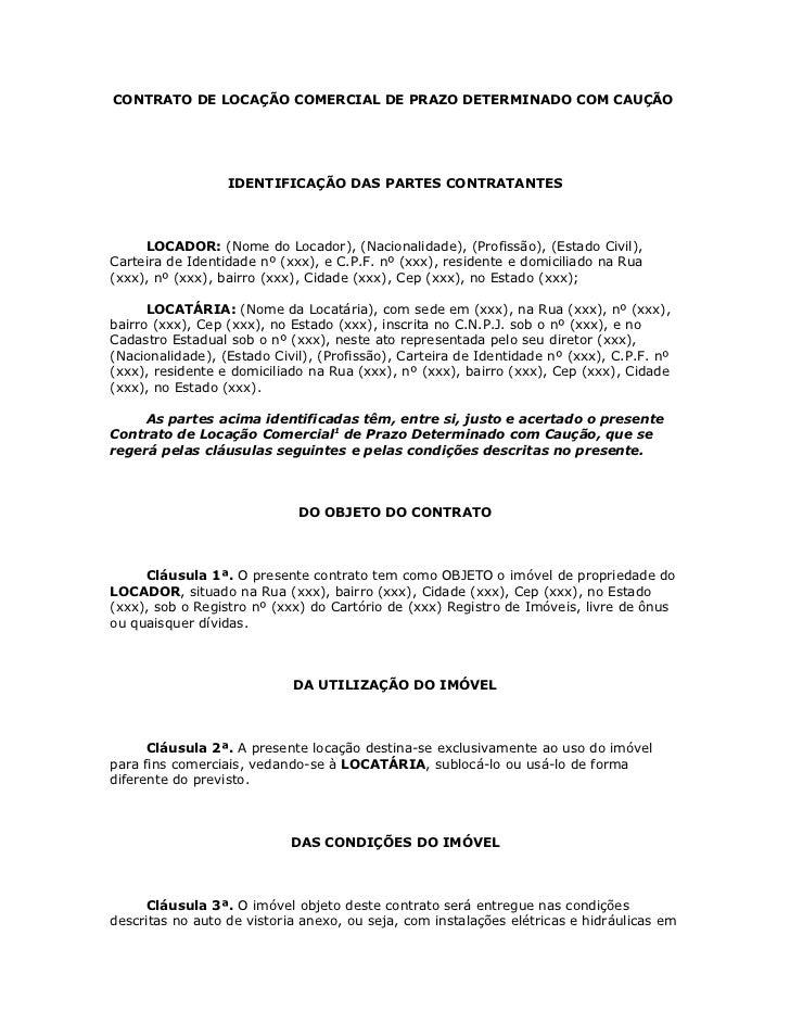 Contrato De Locação Comercial De Prazo Determinado Com Cauçã