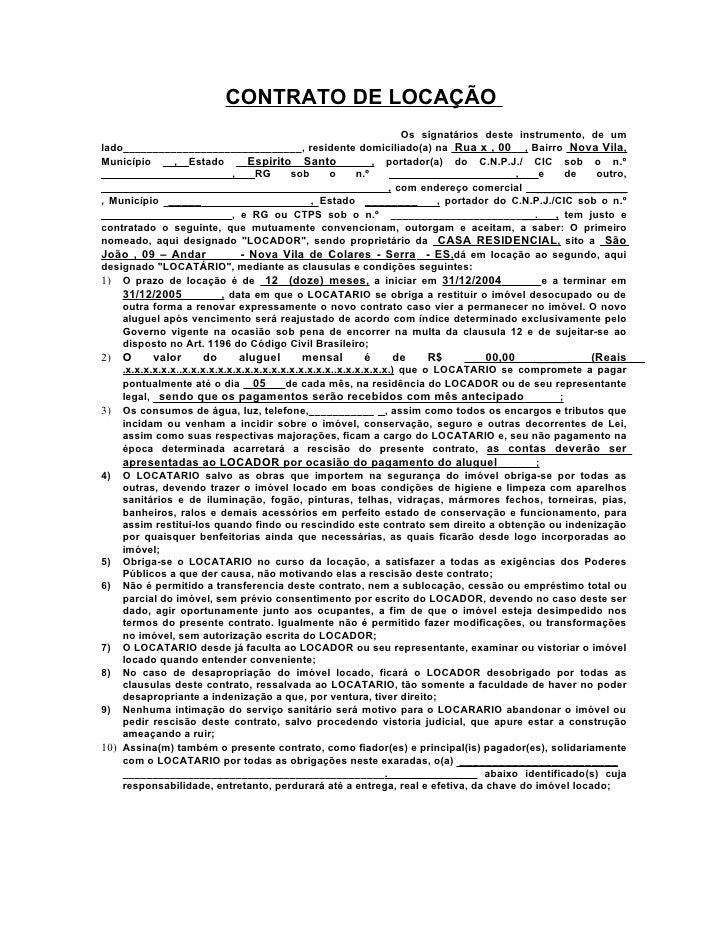 Modelo Contrato Locação De Imovel Monografia November 2019