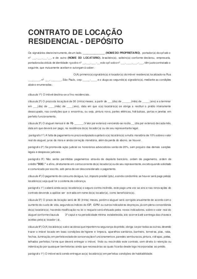 Modelo De Contrato De Locação De Imóvel Residencial