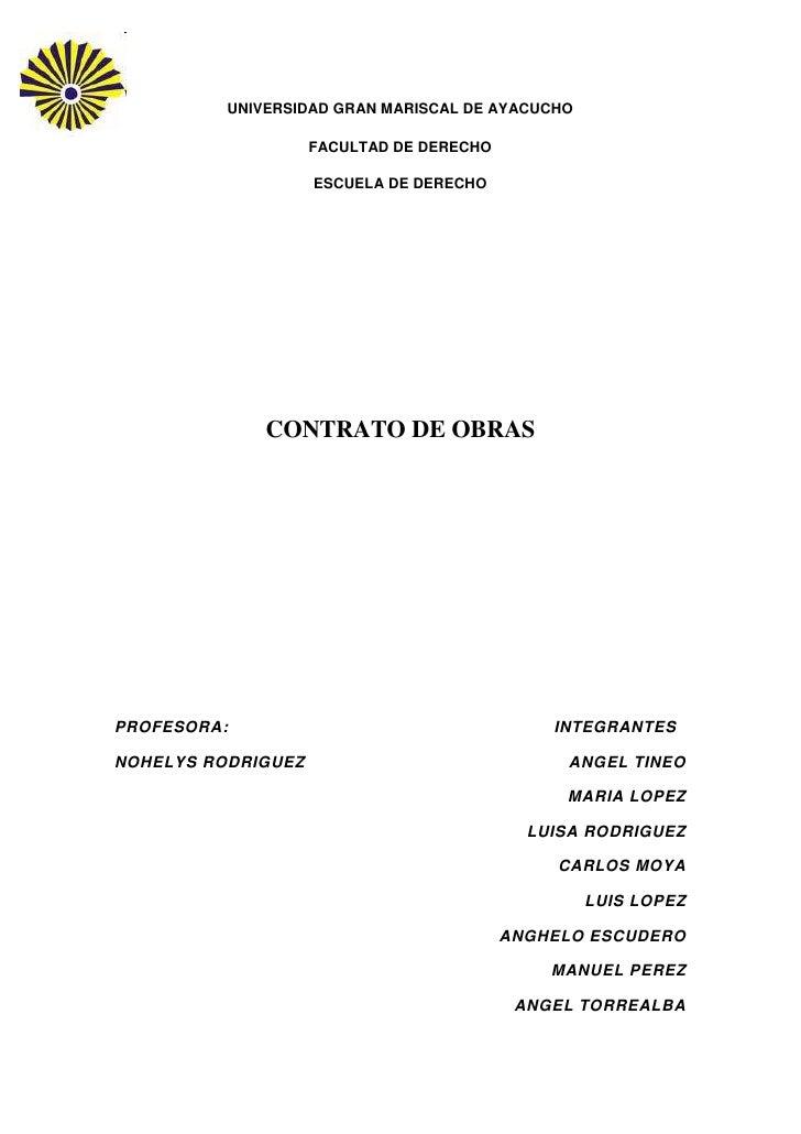 UNIVERSIDAD GRAN MARISCAL DE AYACUCHO                    FACULTAD DE DERECHO                    ESCUELA DE DERECHO        ...