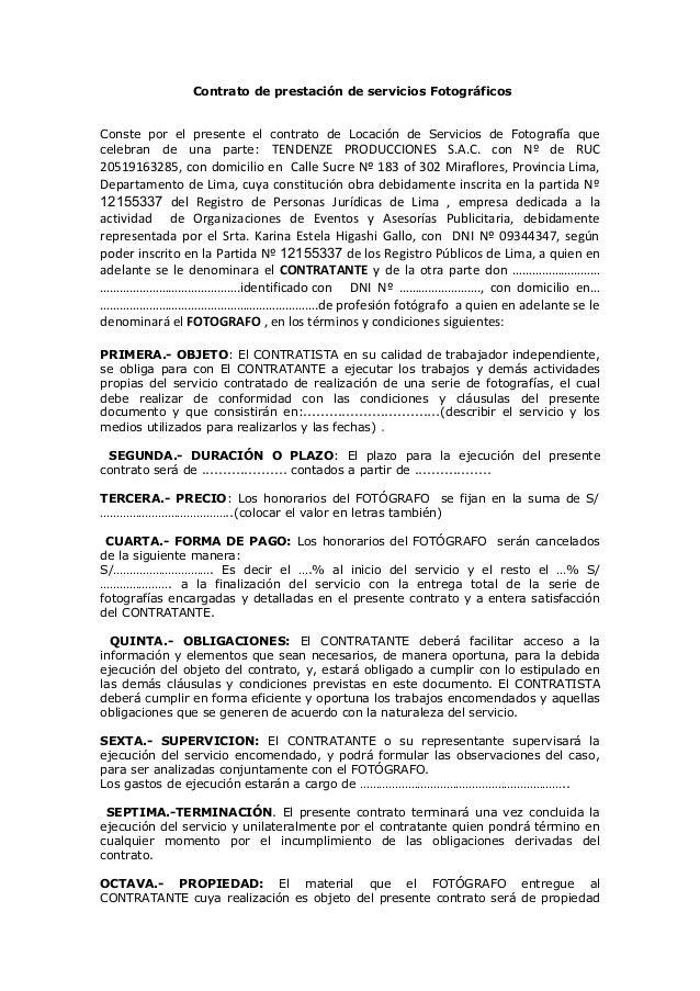 Contrato de prestación de servicios Fotográficos Conste por el presente el contrato de Locación de Servicios de Fotografía...