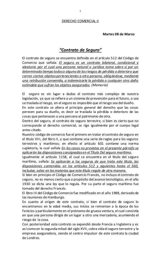 """1 DERECHO COMERCIAL II Martes 08 de Marzo """"Contrato de Seguro"""" El contrato de seguro se encuentra definido en el artículo ..."""