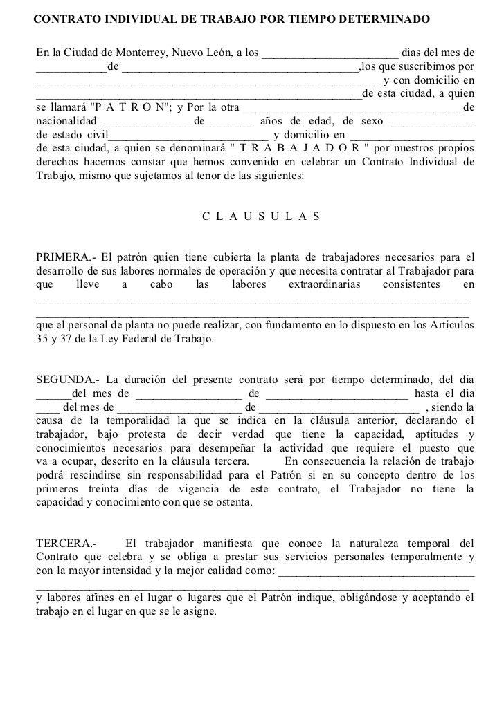Contrato determinado for Contrato trabajo