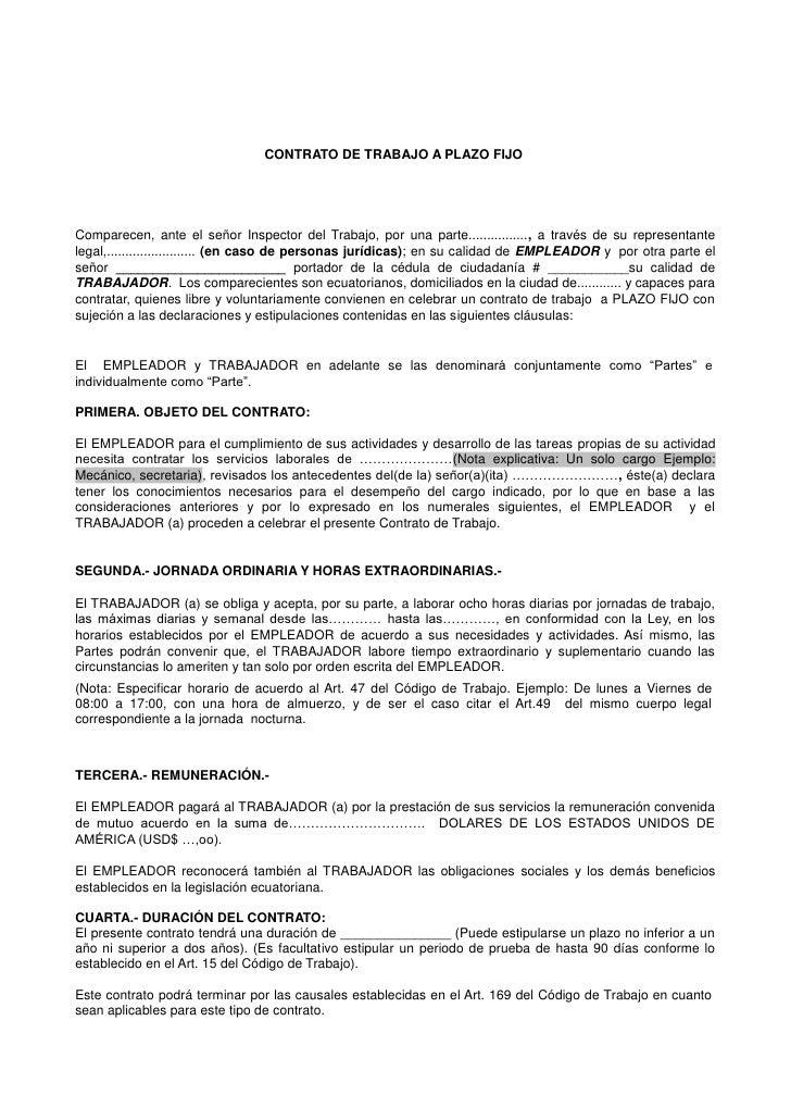 Ejemplo de contrato a plazo fijo de trabajo ecuador for Contrato de duracion determinada empleada de hogar