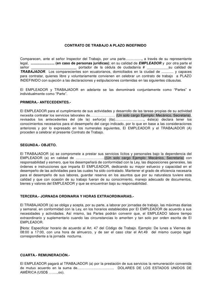 Contrato de trabajo a destajo for Formato de contrato de trabajo