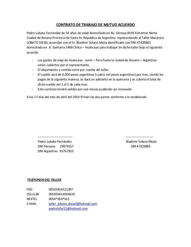 Contrato De Trabajo De Mutuo Acuerdo