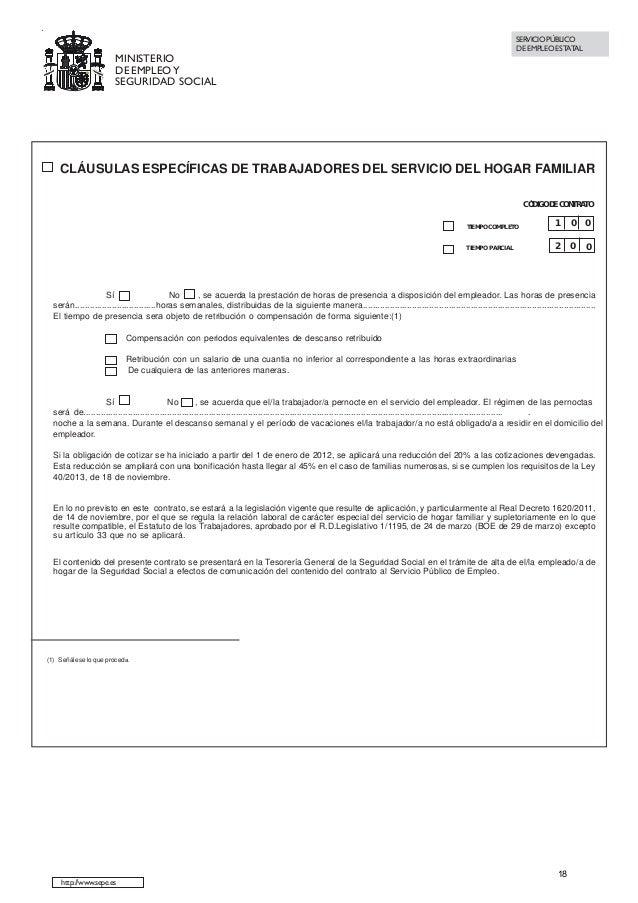 Contrato de trabajo indefinido Contrato de trabajo indefinido servicio hogar familiar