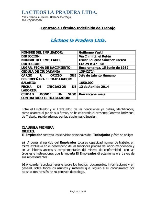 Contrato De Trabajo Oscar Eduardo