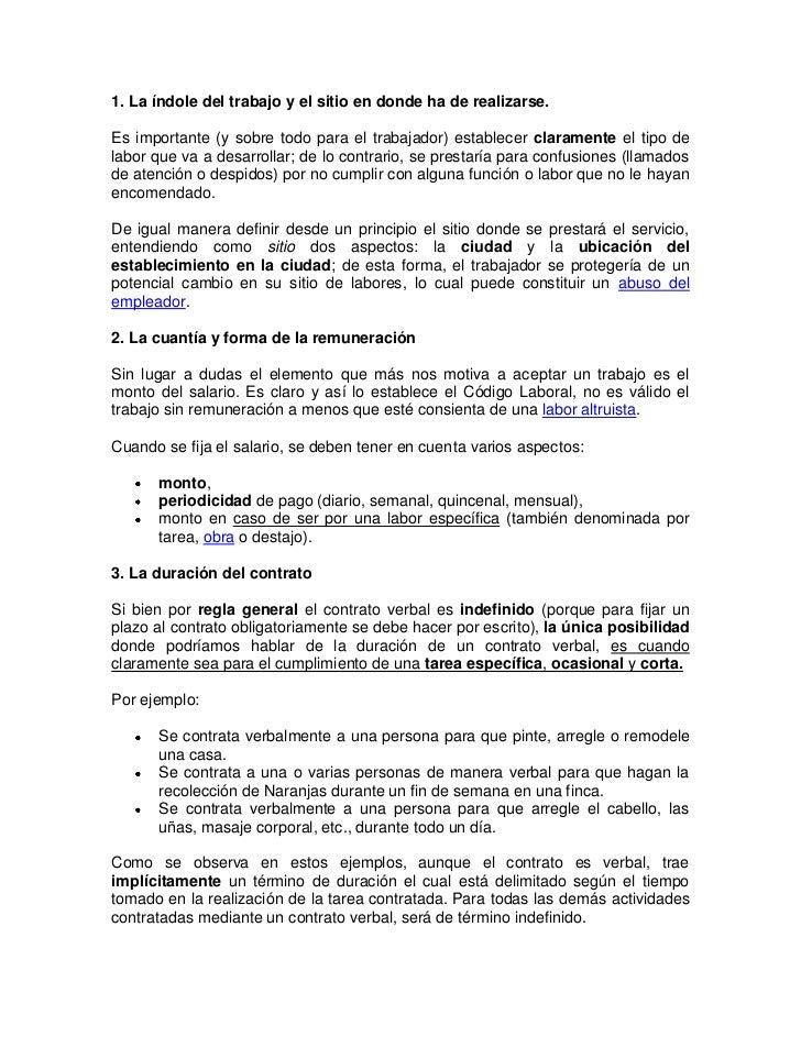 Contrato De Trabajo Verbal