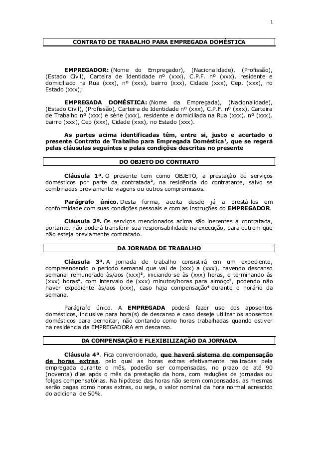 Contrato De Trabalho Para Empregada Doméstica Modelo Com