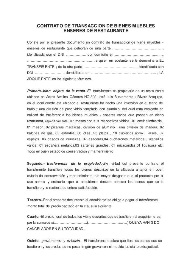 contrato de transaccion de bienes muebles ForArrendamiento De Bienes Muebles Ejemplos