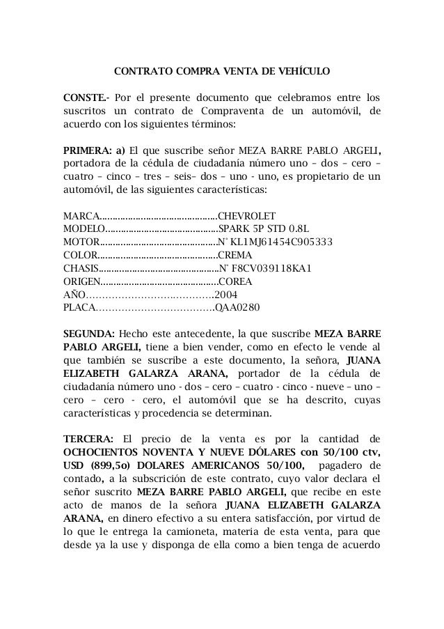 Contrato de venta de vehiculo modelo ecuador for Contrato documento