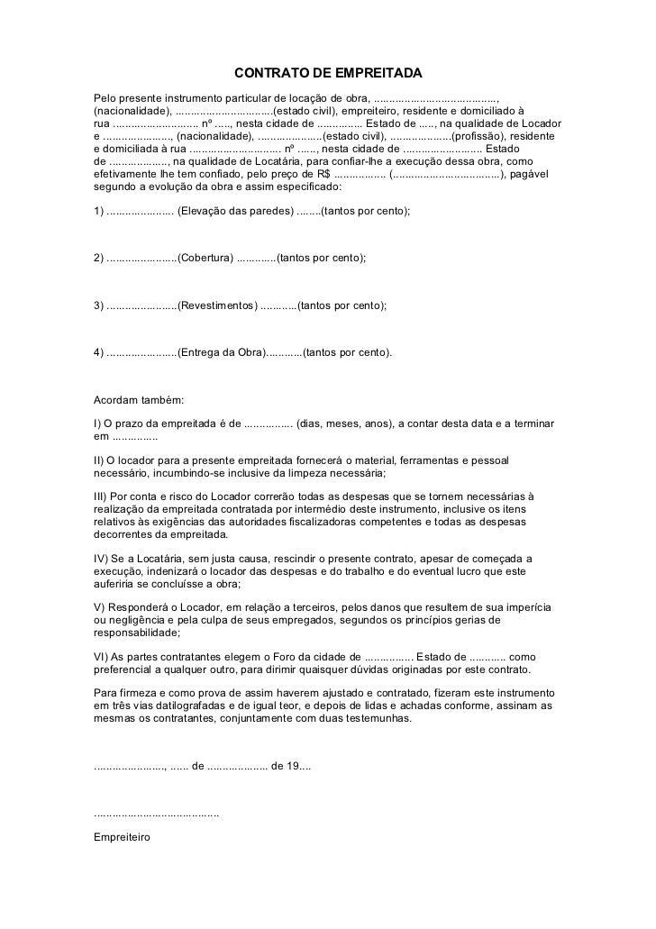 Contrato Empreitada De Servico