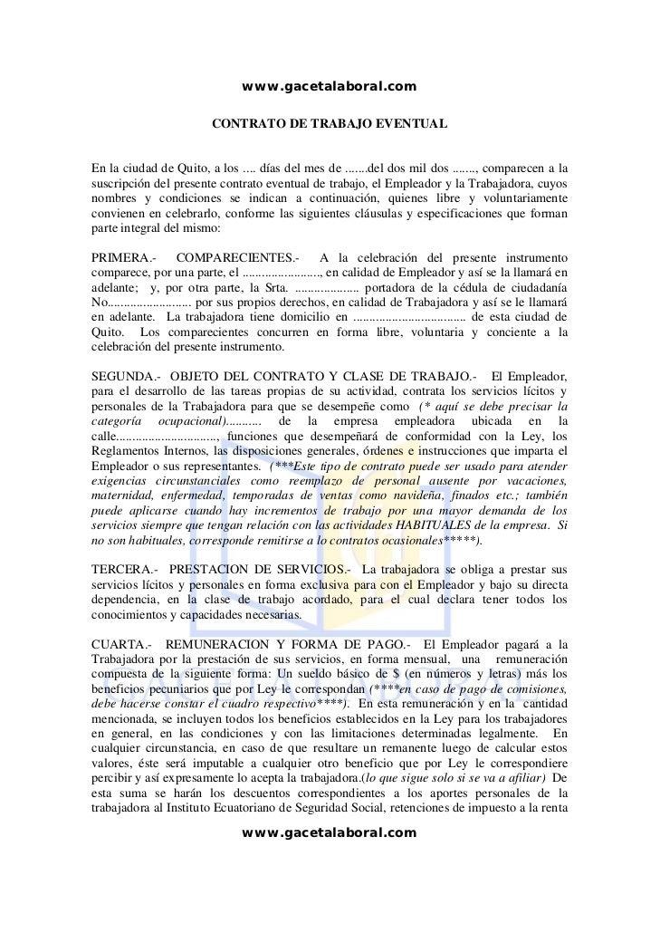 Contrato eventual for Contrato trabajo