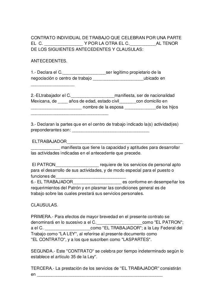 Contrato individual 1 for Contrato laboral para empleadas domesticas