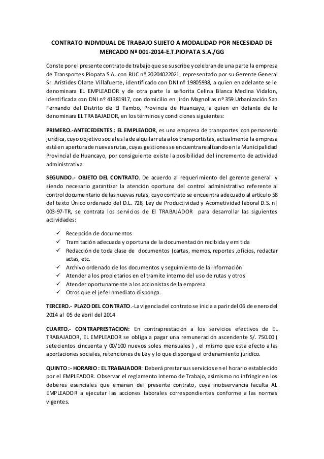 Contrato individual de trabajo n 001 Contrato laboral de trabajo