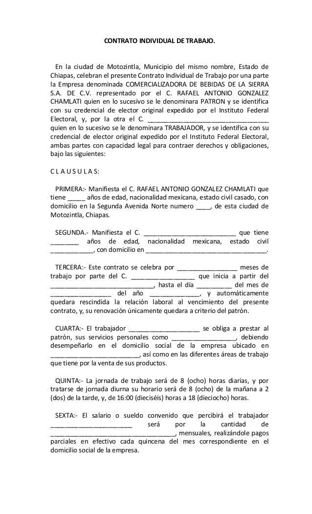 Contrato individual de trabajo superior Contrato trabajo