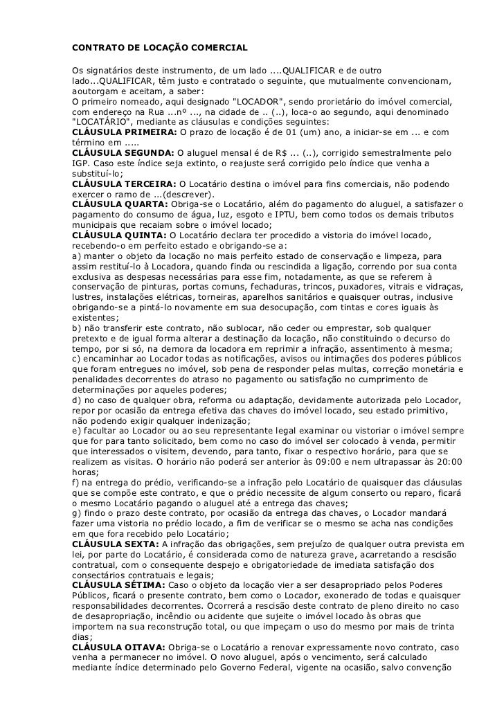 Contrato Locação Imóvel Comercial Monografia November 2019