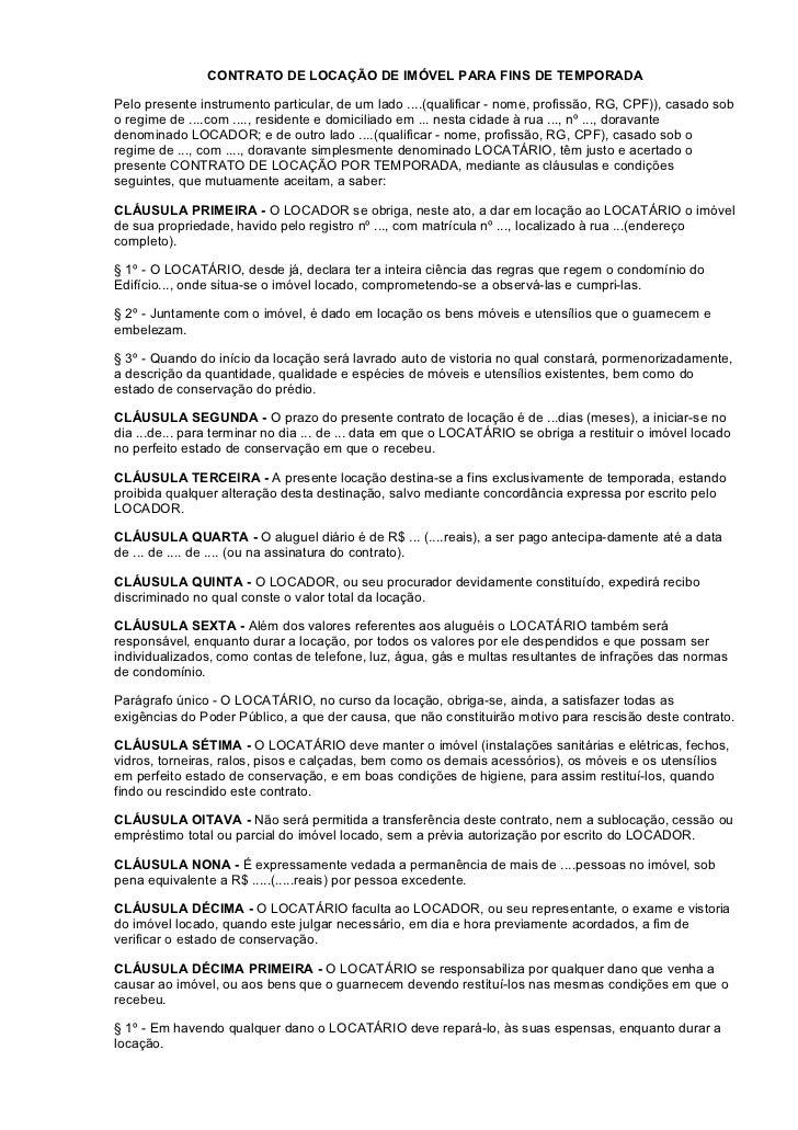 Contrato Locacao Imovel De Temporada