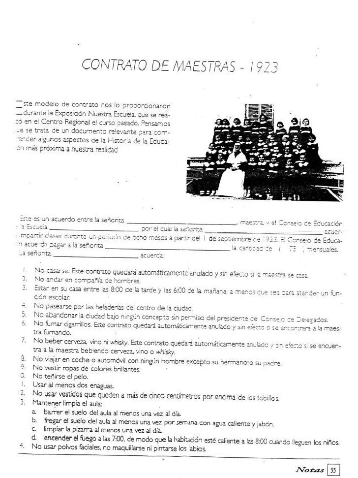Contrato maestra año 1923