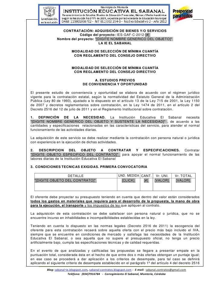 CONTRATACIÓN: ADQUISICIÓN DE BIENES Y/O SERVICIOS                             Código del proyecto: IES-GAF-C-2012-[#]     ...