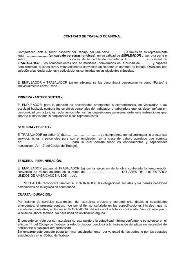 Contrato ocasional for Contrato trabajo