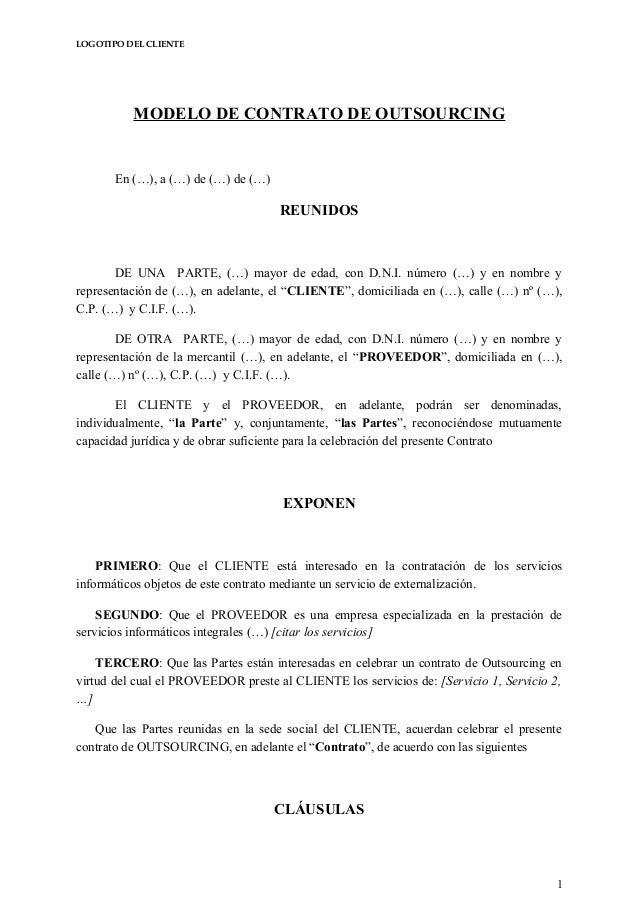 Contrato De Servicio Domestico Colombia Contrato Outsourcing 2