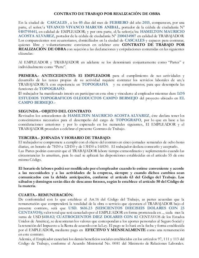 Formato Contrato Por Obra Ecuador