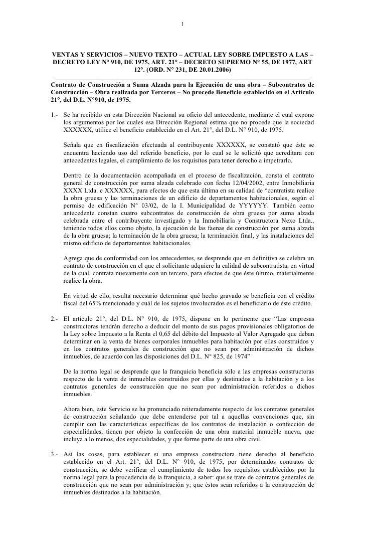 1VENTAS Y SERVICIOS – NUEVO TEXTO – ACTUAL LEY SOBRE IMPUESTO A LAS –DECRETO LEY N° 910, DE 1975, ART. 21° – DECRETO SUPRE...