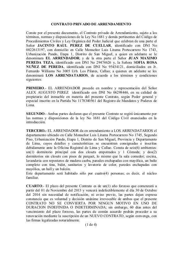 Ejemplo De Contrato Privado De Arrendamiento En El Peru