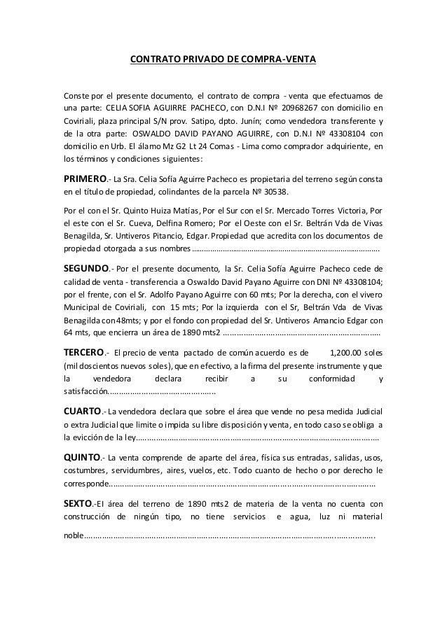 Contrato privado de compra for Contrato documento