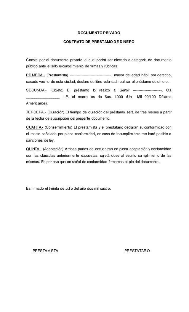 Contrato privado de pr stamo de dinero for Contrato documento