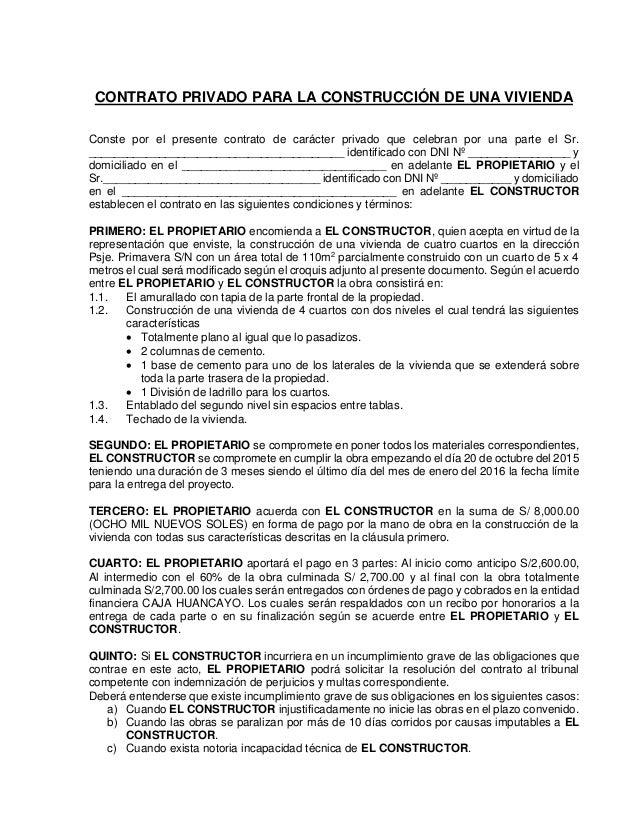 Contrato privado para la construcci n de una vivienda Contrato de trabajo indefinido servicio hogar familiar