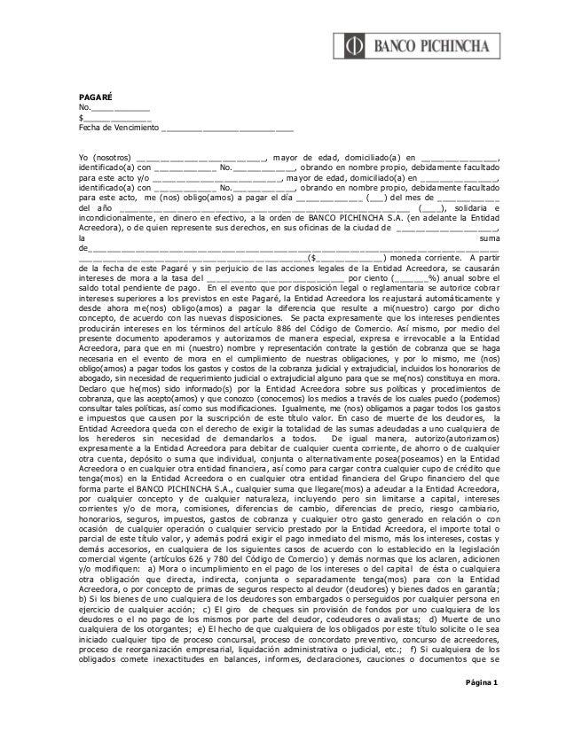 Página 1 PAGARÉ No._____________ $_______________ Fecha de Vencimiento _____________________________ Yo (nosotros) _______...