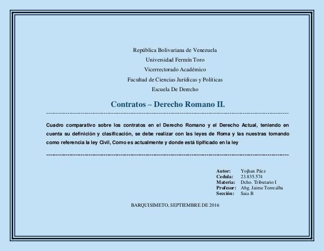 Cuadro Comparativo Matrimonio Romano Y Venezolano : Contratos en la actualidad y epoca romana cuadro