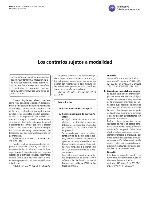 Fuente: www.caballerobustamante.com.pe Derechos Reservados Informativo Caballero Bustamante La contratación modal de traba...