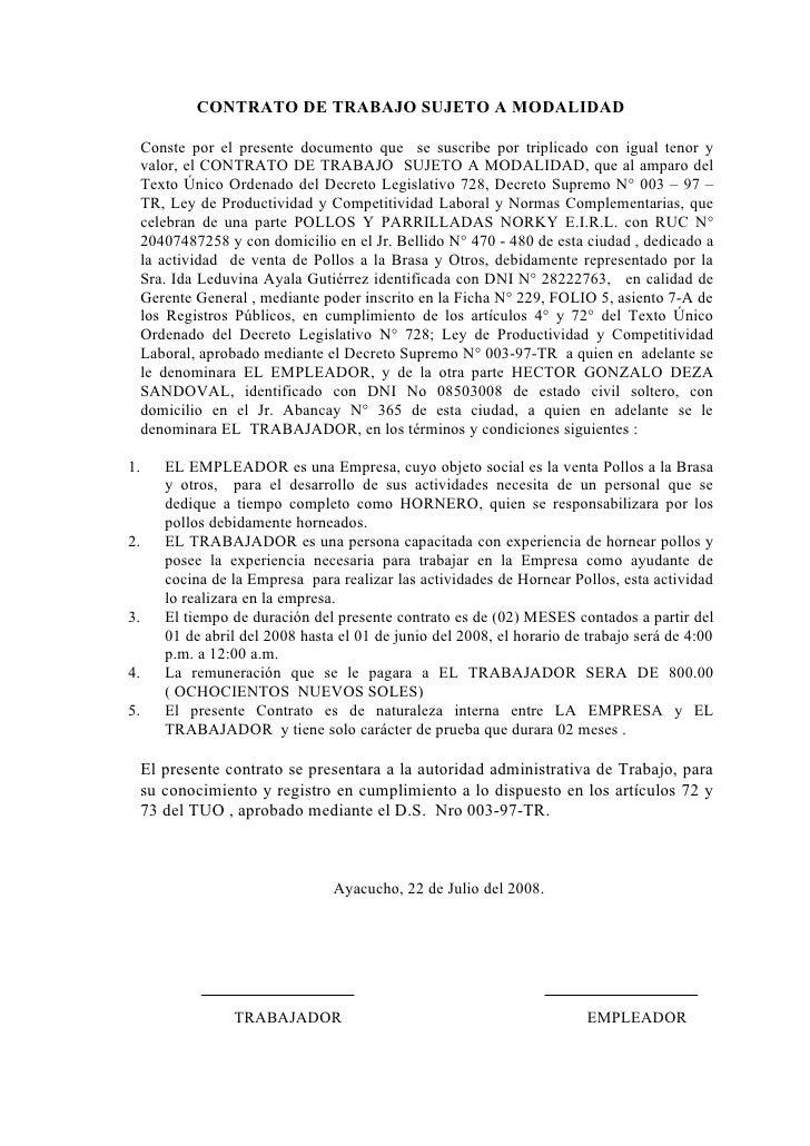 Contrato sujeto a modalidad Contrato trabajo