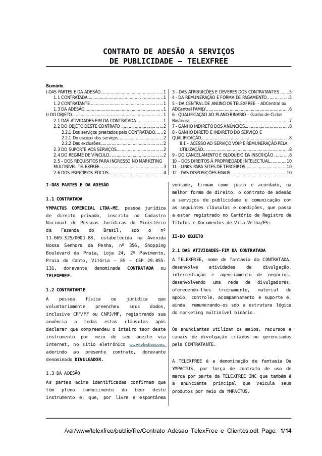 CONTRATO DE ADESÃO A SERVIÇOS                                         DE PUBLICIDADE – TELEXFREESumárioI-DAS PARTES E DA A...